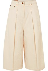 Mcq By Alexander Mcqueen Atami Pleated Cropped High Rise Wide Leg Jeans White