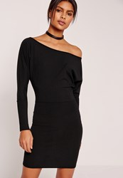 Missguided Slouchy One Shoulder Mini Dress Black Black