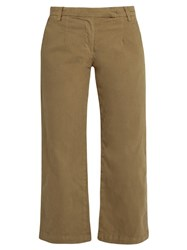 Current Elliott The Cropped Neat Wide Leg Trousers Khaki