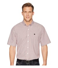 Cinch Short Sleeve Plain Weave Plaid White Clothing