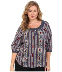 Roper Plus Size 9903 Printed Cotton Lawn Peasant Blouse Blue Women's Blouse