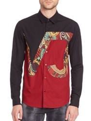 Versace Vj Patterned Woven Shirt Black