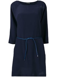 Emporio Armani Belted Shift Dress Blue