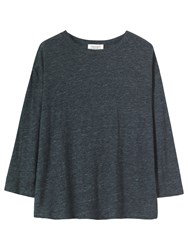 Toast Long Sleeve Linen T Shirt Charcoal Melange
