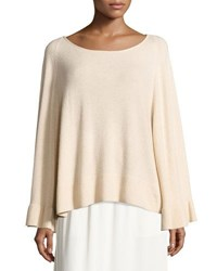 Elizabeth And James Freja Wool Blend Flutter Sleeve Sweater Champagne