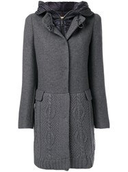Fay Hooded Knit Coat Acrylic Polyamide Polyester Virgin Wool Xs Grey