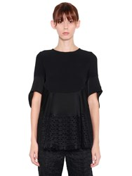 Antonio Berardi Ruffled Eyelet Lace And Satin Top Black