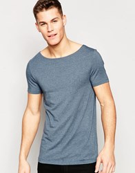 Asos Muscle T Shirt With Boat Neck In Dark Green Dark Slate