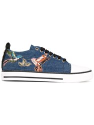 Red Valentino Bird Patches Denim Sneakers Blue