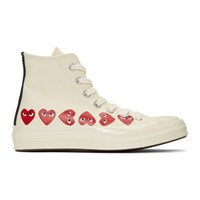 Comme Des Garcons Play Off White Converse Edition Multiple Hearts Chuck 70 High Sneakers