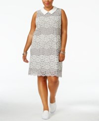 Monteau Trendy Plus Size Collared Lace Dress Heather Grey Ivory