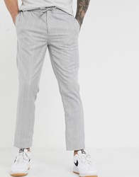 Burton Menswear Slim Trousers In Light Grey Stripe