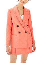 Topshop Women's Ella Double Breasted Suit Jacket Coral