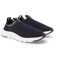 Ermenegildo Zegna Leather And Techmerino Wool Mesh Slip On Sneakers Navy