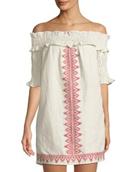 The Jetset Diaries Essence Off Shoulder Embroidered Tunic Multi Pattern