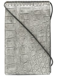 Isaac Sellam Experience Strap Detail Wallet Unisex Crocodile Leather One Size Grey
