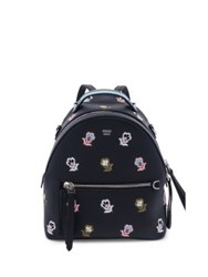 Fendi Floral Embroidered Leather Backpack Black Multi