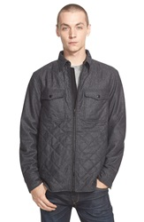 Rag And Bone 'Grant' Quilted Wool Blend Shirt Jacket Dark Grey