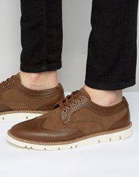 Pull And Bear Pullandbear Brogues With Rubber Sole In Tan Tan