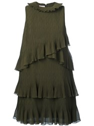 Giamba Ruffle Detail Shift Dress Green