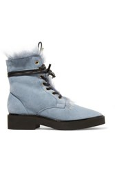 Stuart Weitzman Jissikia Shearling Lined Suede Ankle Boots Light Gray