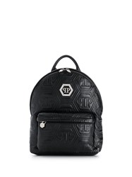 Philipp Plein Crystal Quilted Backpack Black