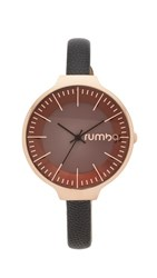Rumbatime Orchard Leather Lights Out Watch Rose Gold Black