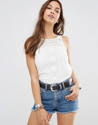 New Look Lace Shell Top Cream