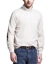 Brunello Cucinelli Fine Gauge Knit Elbow Patch Sweater Oatmeal Oatmeal 56