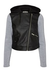 Noisy May Faux Leather Jacket Black Grey