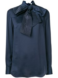 Thom Browne Bow Detail Blouse Blue