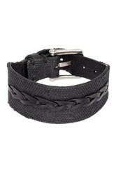 John Varvatos Canvas And Leather Cuff Bracelet Black
