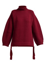 Ellery Wallerian Oversized Wool Blend Roll Neck Sweater Burgundy