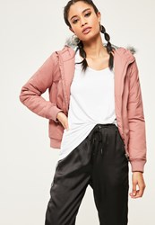 Missguided Mauve Faux Fur Hood Padded Bomber Jacket