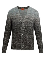 Missoni Ombre V Neck Wool Blend Cardigan Grey Multi