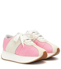 Marni Big Foot Mesh And Suede Sneakers Pink