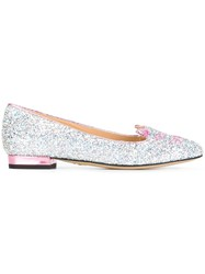 Charlotte Olympia 'Kitty' Slippers Metallic