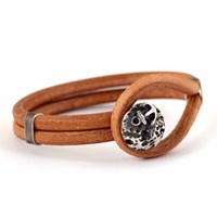 Mad Men Jewelry Nautical Brown Natural Leather Bracelet Silver Brown