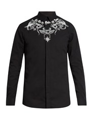 Givenchy Contemporary Fit Tattoo Print Single Cuff Shirt Black