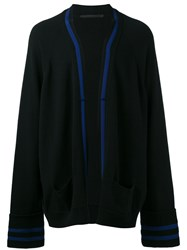 Haider Ackermann Contrast Stripe Cardigan Men Cashmere Virgin Wool S Black