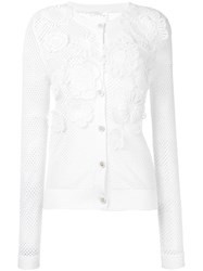 Chloe 3D Floral Cardigan Women Cotton S White