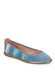 Enzo Angiolini Nation Leather Trimmed Suede And Fabric Flats Blue Multi