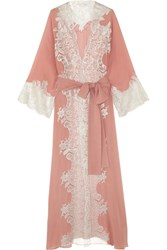 Rosamosario Sweet Sumatra Metallic Lace Trimmed Silk Georgette Robe Antique Rose