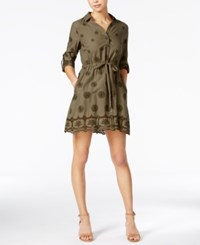 Maison Jules Cotton Embroidered Shirtdress Only At Macy's Dusty Olive