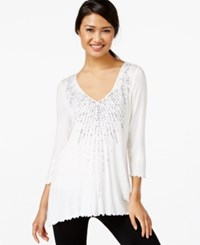 Miraclesuit Long Sleeve Ruffled Beaded Top White Infinity Blue