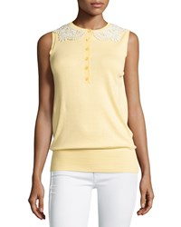 Moschino Sleeveless Lace Collar Knit Top Yellow White