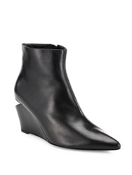 Alexander Wang Liv Leather Point Toe Notched Wedge Booties Black