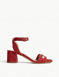 Claudie Pierlot Pearl Detail Suede Sandals Red