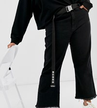 Asos Design Curve Utility And Text Webbing Waist And Hip Belt Black