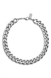 Women's Karine Sultan Curb Chain Collar Necklace Silver